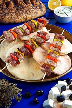 Souvlaki Skewers with Tzatziki Sauce, Feta Cheese and Pita Bread, Greek Cooking, Greek, Greece