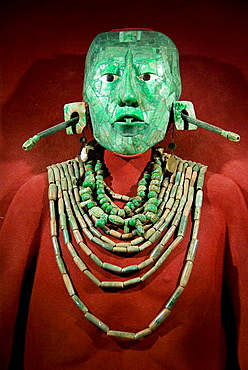 Mexico.Mexico city.National Museum of Antropology.Maya culture.Funerary Mask of jade and funerary offerings of Pakal King of Palenque in Chiapas.