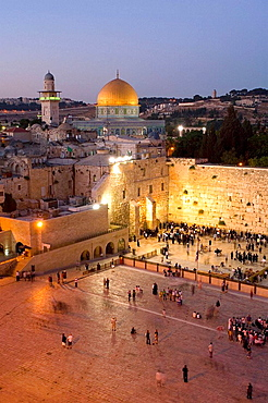 The Western Wall of Jerusalem with the dome of the rock in the background, Israel