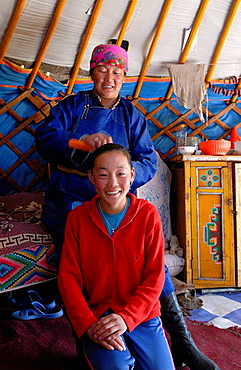 Darkhad mother and daughter, Bayanzurkh region, Khovsgol province, Mongolia