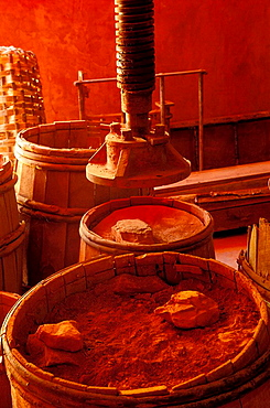 Red ochre mill preserved in Roussillon, Vaucluse, Provence-Alpes-Cote dAzur, France