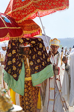 Ethiopia, Lalibela,Timkat festival, High priest carrying a church Tabot  Every year on january 19, Timkat marks the Ethiopian Orthodox celebration of the Epiphany  The festival reenacts the baptism of Jesus in the Jordan River  Wrapped in rich cloth,