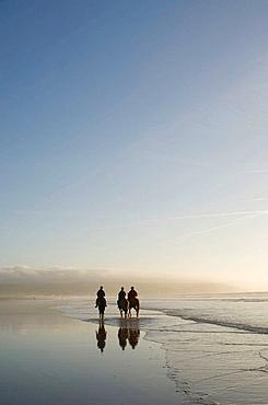 Three people riding horses on Ynyslas beach, Borth, Ceredigion, West Wales, January afternoon