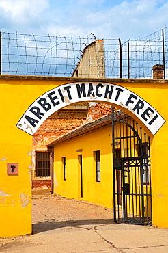 Arbeit Macht Frei sign in Terezin Czech Republic EU