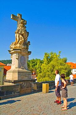 Statue of St Lutigarde on Charles Bridge central Prague Czech Republic EU