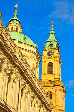 Tower of Sv Mikulas church in Mala Strana central Prague Czech Republic EU