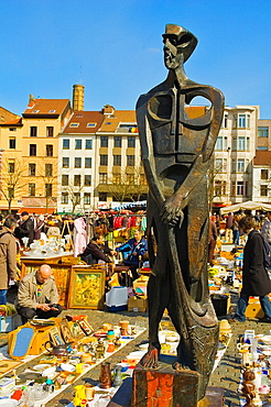 Flea market at Place du Jeu de Balle Brussels Belgium Europe