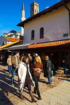 Saraci street in Bascarsija district in Sarajevo Bosnia Herzegovina Europe