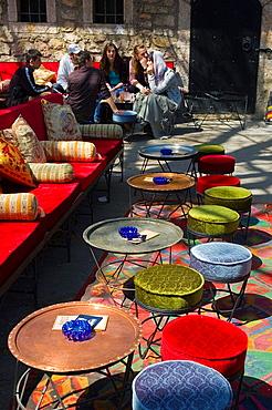 Outdoor tea room in Bascarsija district of Sarajevo Bosnia Herzegovina Europe