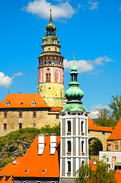 Towers of the castle and church in Cesky Krumlov Czech Republic Europe
