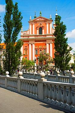 Triple Bridge and Franciscan Church of the Annunciaton in Ljubljana Slovenia Europe
