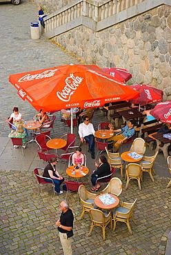 Cafe terrace by River Vltava in Prague Czech Republic Europe