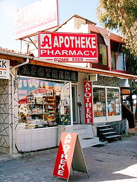 Tourist pharmacy in Side, Turkey