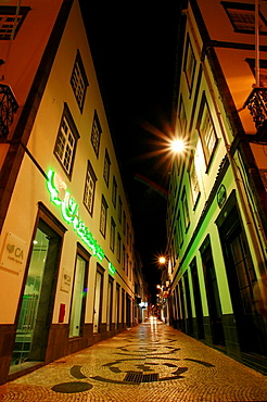 Night photo of narrow street in downtown Ponta Delgada  Azores islands, Portugal