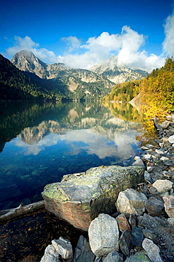 Saint Maurici lake, Aiguestortes national park, Lerida province, Catalonia, Pyrenees, Spain