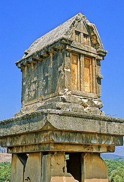 Turkey, the ruins of Xanthos, the old Lycian capital, a pillar tomb (sarcophagus)