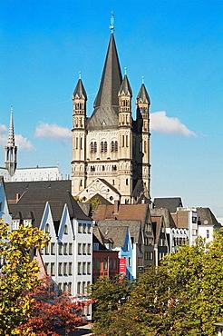 Saint Martins Church and houses at the Rhine promenade, Cologne, Northrhine-Westfalia, Germany