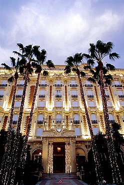 The Carlton palace at night during Christmas time on the Croisette Alpes-MAritimes 06 France Europe