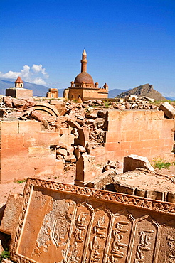 Turkey, Anatolia, Dogubayazit, Ishak Pasa Palace and Seljuk graveyard