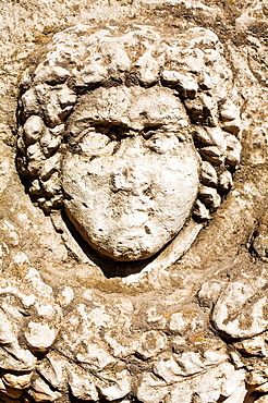 Gaziantep museum: Medusa head on Roman Sarcophagus with garland (2nd - 3rd century AD), Zeugma, Gaziantep province, Anatolia, Turkey