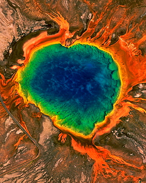 Aerial of Grand Prismatic Spring, Yellowstone National Park, Wyoming, USA