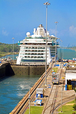 Brilliance of the seas cruise ship, Gatun Locks, Panama Canal, Panama
