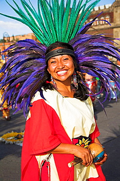 Female Mexican Indian in traditional costume and headdress, Zocalo, Plaza de la Constitucion, Mexico City, Mexico