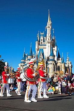 Marching band, Disney Dreams Come True Parade, Magic Kingdom, Disney World, Orlando, Florida, USA