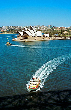 Sydney Opera House from Sydney Harbour Bridge, Bennelong Point, Sydney Harbour, Sydney, New South Wales, Australia