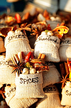 Bags of spices on market stall, Chiang Mai, Northern Thailand