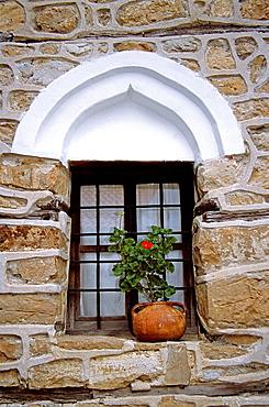 Window and plant pot, Arbanassi, Bulgaria