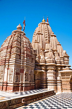 A sikhara tower at the top of Sachiya Mata Temple, Osian, near Jodhpur, Rajasthan, India
