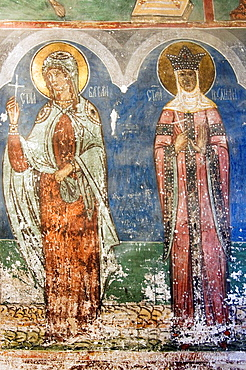 Church of the Assumption of the Virgin of the former Humor Monastery, Interior wall paintings representing biblical scenes and legends, South Bucovina, Moldavia, Romania, UNESCO World Heritage