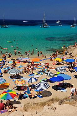 Panoramic view of Playa Compte to Ibiza, Spain.