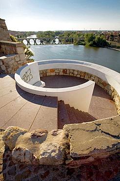 On background Stone Bridge over Duero river Zamora Castilla y Leon, Spain