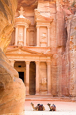 Jordan, Petra View of Treasury from the Siq Its facade is 30m wide and 43m high, carved out of the sheer, dusky pink Carved in the early 1st century as the tomb of an important Nabataean king