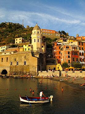 Sunset over the village and harbour of Vernazza in the Cinque Terre region of the Italian Riviera or Riviera di Levanto