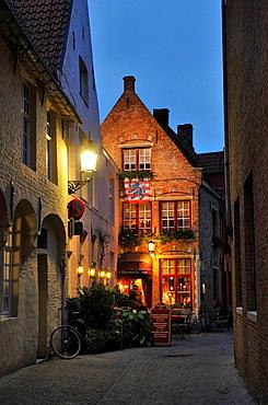 Street at night, Medieval town of Bruges, Belgium  Brugge