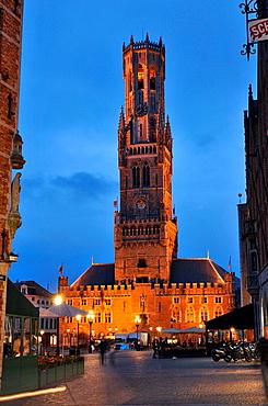 Belfort, Brugge  Markt square and belfry at night, Medieval town of Bruges, Belgium