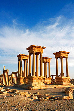 View of the Tetrapylon of Palmyra, one of its most famous views nowadays  Tetrapylon comes from the Greek which means four gates, built in Roman Times in crossroads or like in Palmyra: to mark a change of direction in the main avenue