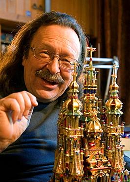 Poland, Krakow, Christmas, Maciej Moszew makes Nativities