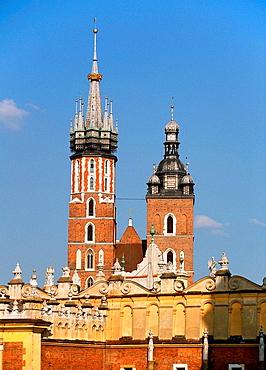 Krakow Poland Cloth Hall  Sukiennice  and St Marys  Mariacki  Church at Main Market Square  Rynek Glowny  Old Town