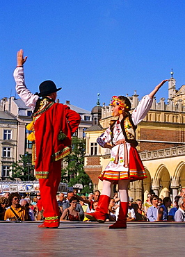 Poland, Krakow, Folk dance festival at Main Market Square