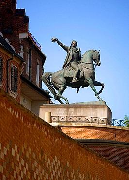Poland, Krakow, Tadeusz Kosciuszko monument, Cathedral towers, Wawel