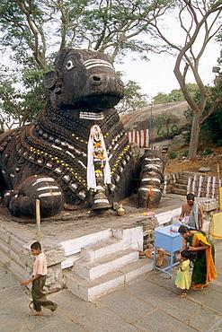Chamundi Hill, Nandi bull statue, Mysore, Karnataka, India.