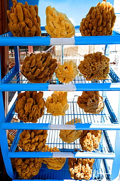 Natural sponge shop near the port, Simi, Dodecanese islands, Greece
