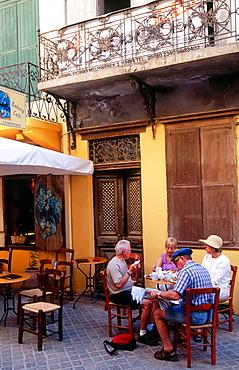 Old towns street scene, Hania, Crete, Greece