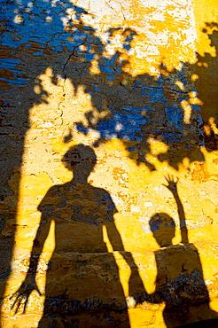 Shadows on wall, Chorio, Simi, Dodecanese islands, Greece