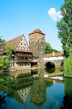 Germany, Bavaria, Nurnberg, Weinstandel, Wine Hall, Pegnitz River