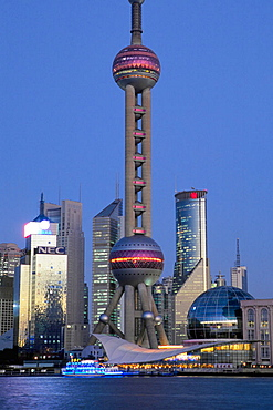China, Shanghai, Pudong business district skyline, Oriental Pearl Tower